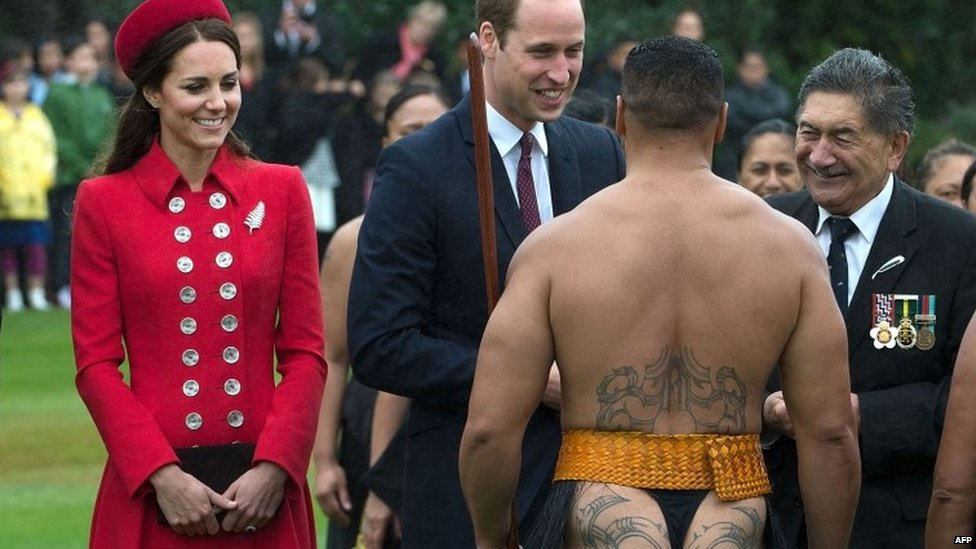 Duke and Duchess of Cambridge being greeted by a Maori