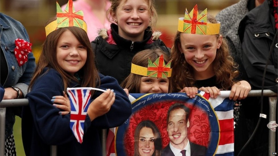 Schoolchildren who turned out to see the royals