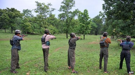 File picture of Maoist rebels in India, 8 July 2012
