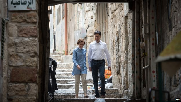 Ed Miliband and wife Justine were shown around the Old City of Jerusalem
