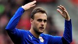 Cardiff defender Juan Cala celebrates his goal at Southampton