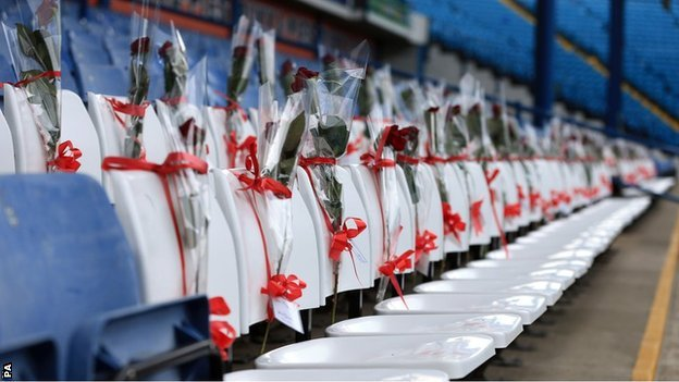 96 blue seats at the Leppings Lane end of Hillsborough were replaced by 96 white seats ahead of Sheffield Wednesday's Championship match with Blackburn