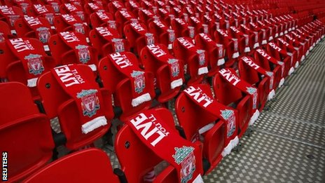 Ninety-six Liverpool scarves were placed on seats at Wembley