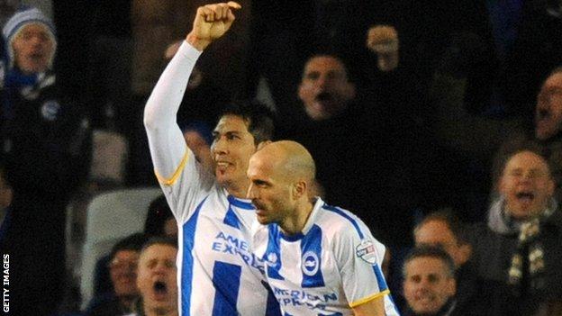 Brighton players celebrating