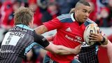 Glasgow lock Jonny Gray tackles Munster winger Simon Zebo