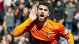 Nadir Ciftci celebrates Dundee United's third goal against Rangers
