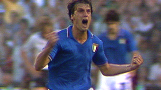 Marco Tardelli does his iconic celebration after scoring for Italy against West Germany