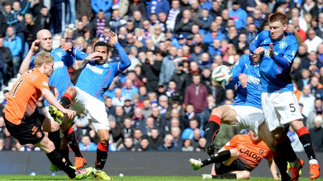 Gary Mackay-Steven scores for Dundee United against Rangers