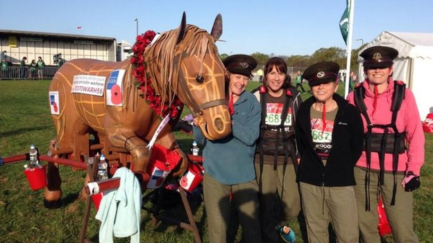 Sharon, Karen, Debbie & Penny will be carrying Colin the War Horse for The Royal British Legion