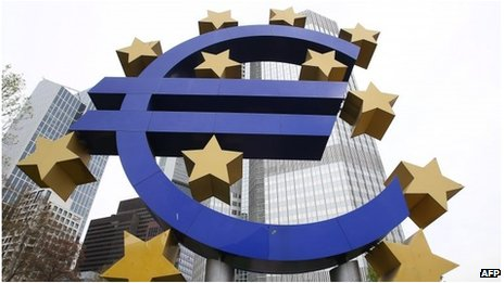 Euro symbol outside the headquarters of the European Central Bank