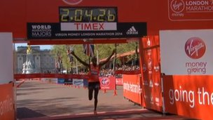 Wilson Kipsang wins men's London Marathon
