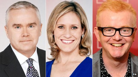 Huw Edwards, Sophie Raworth and Chris Evans