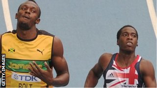Usain Bolt and Christian Malcolm