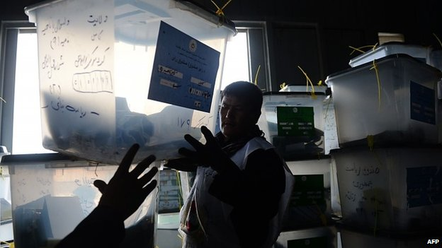 Ballot boxes being taken to a counting centre in Afghanistan, 10 April 2014