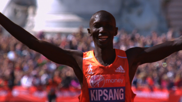 Wilson Kipsang wins the 2014 London Marathon men's elite race in a course record time