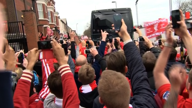 Fans welcome Liverpool team bus