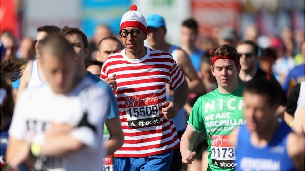 A competitor dressed as Wally from the Where's Wally book series is among the racers.