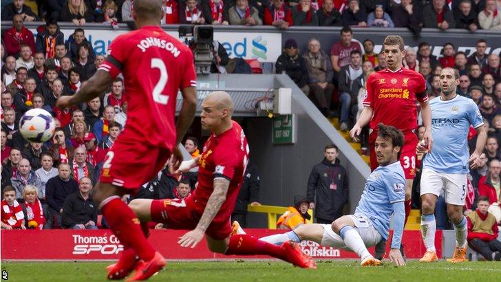 David Silva goal vs Liverpool
