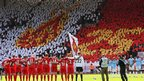 Liverpool and Manchester City players mark a minute's silence in memory of Hillsborough