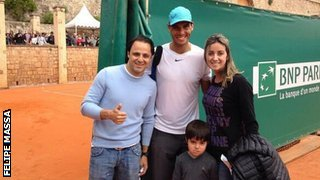 Felipe Massa and family with Rafael Nadal
