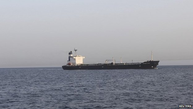 The Morning Glory oil tanker outside the Tripoli port - 23 March 2014