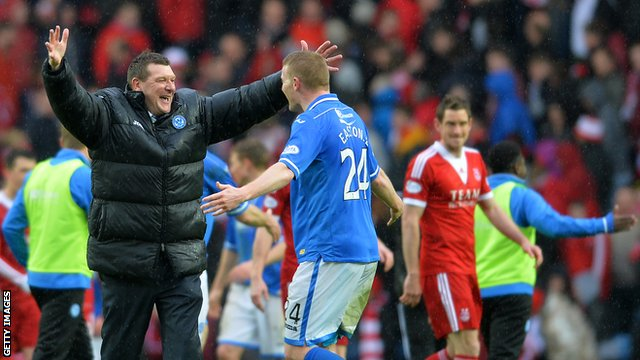 St Johnstone boss Tommy Wright celebrates with his players