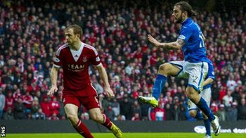 May scores what proves to be the winner for St Johnstone