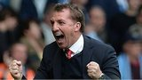 Liverpool manager Brendan Rodgers celebrates Philippe Coutinho's winner