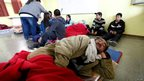 Residents gather in a shelter in Valparaiso, on April 13, 2014.