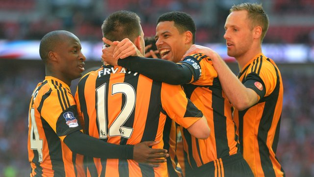 Hull players celebrate during their 5-3 FA Cup semi-final win over