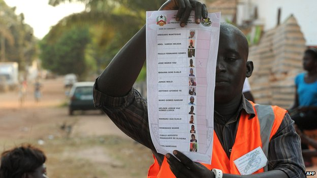 Guinea-Bissau voter holds up ballot paper