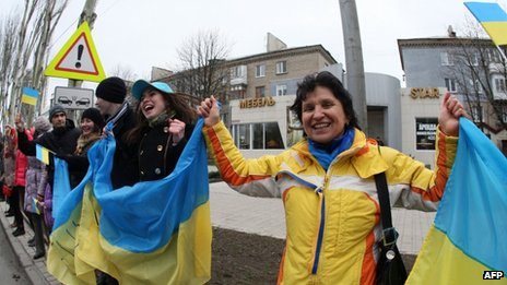 Pro-Kiev protesters in Donetsk