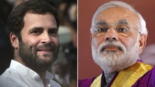 Rahul Gandhi (left) and Narendra Modi often criticise each other's policy on governance and economy
