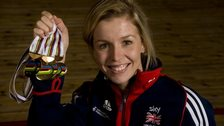 Becky James and her 2013 World Track Cycling Championships medals