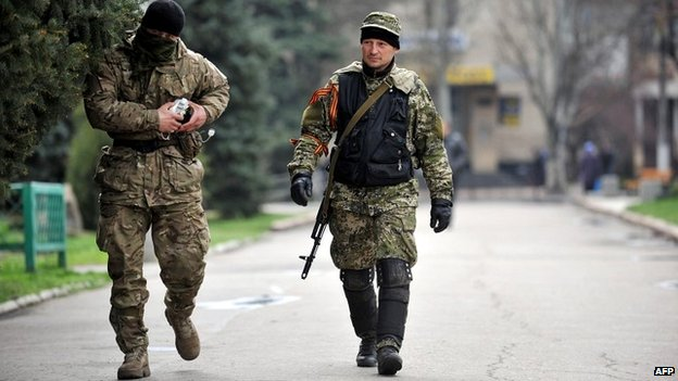 Pro-Russian gunmen patrol the streets of Sloviansk - 14 April 2014