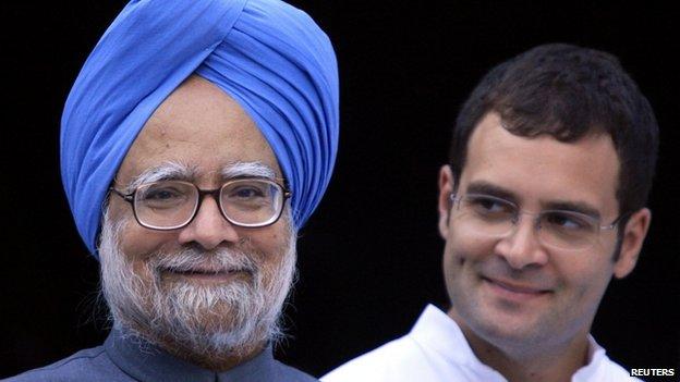 Manmohan Singh and Rahul Gandhi