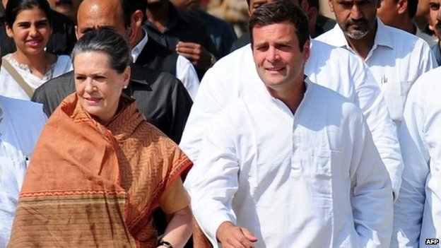 Indian Congress Party vice president Rahul Gandhi (R) and party president Sonia Gandhi