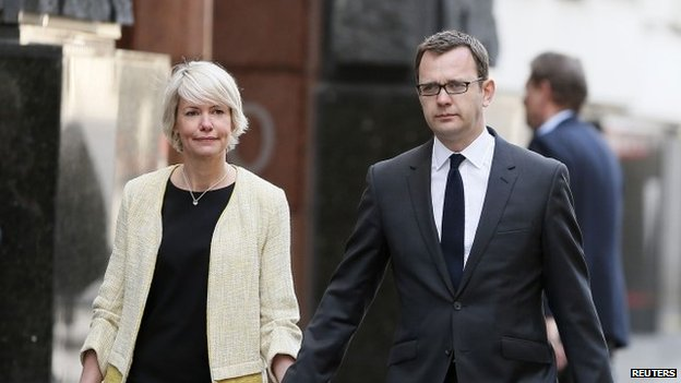 Andy Coulson and his wife Eloise arriving at the Old Bailey on 14 April 2014