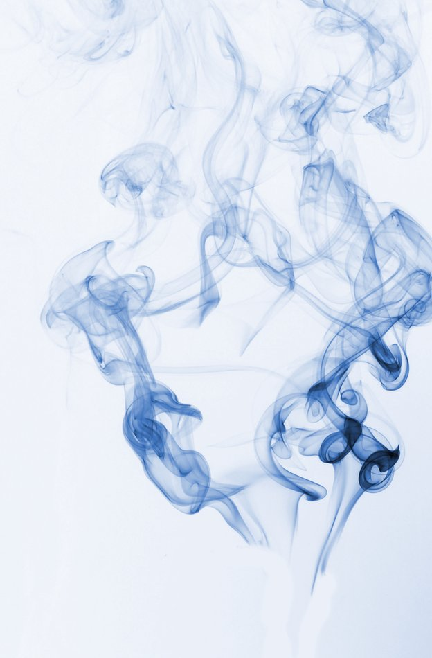 Some blue smoke against a white background