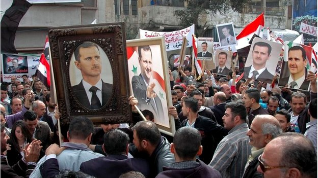 Pro-government demonstration in Damascus - picture from Sana news agency (3 April 2014)