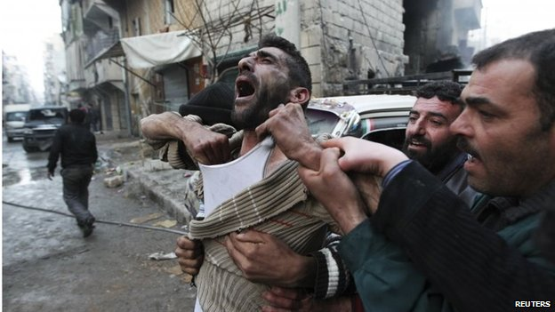Distraught man in Aleppo (file photo)
