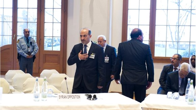 Syrian opposition leader Ahmad Jarba at Geneva II peace conference (22 January 2014)