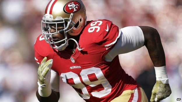 San Francisco 49ers linebacker Aldon Smith warms up for the 49ers NFL football game against the Carolina Panthers in San Francisco 10 November 2013