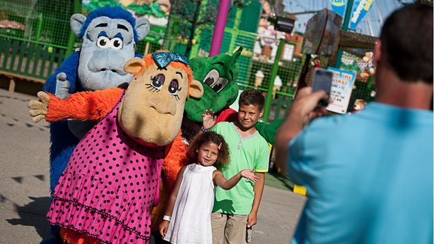 Children and characters at Adventure Island