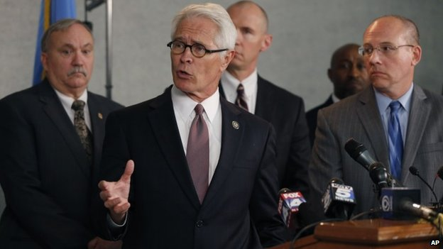 US Attorney Barry Grissom answers questions during a news conference in Overland Park, Kansas 14 April 2014