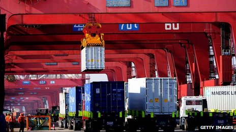 Containers being transported in Qingdao, China, March 2014