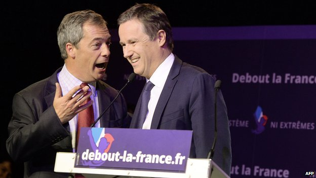 French conservative Debout La Republique party leader Nicolas Dupont-Aignan (right) with UK Independence Party (UKIP) leader Nigel Farage