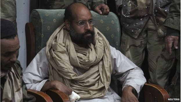 Saif al-Islam Gaddafi in the custody of fighters in Obari in November 2011