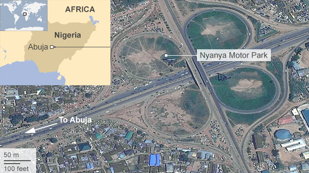 Satellite image showing Nyanya motor park