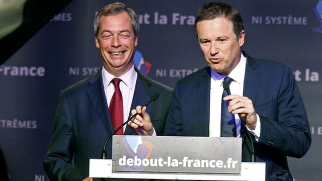 Nigel Farage (left) and DLR chief Nicolas Dupont-Aignan